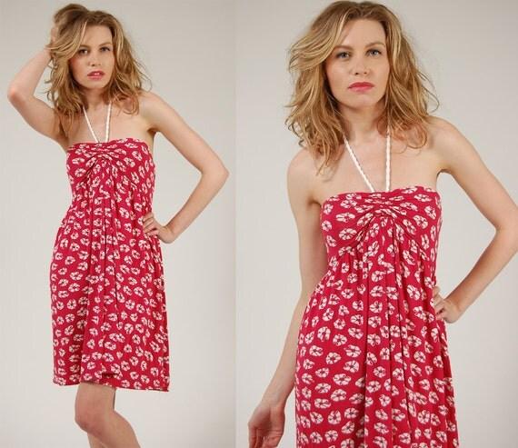 Vintage BETSEY Johnson Mini Dress Red NAUTICAL Sun Dress Medium