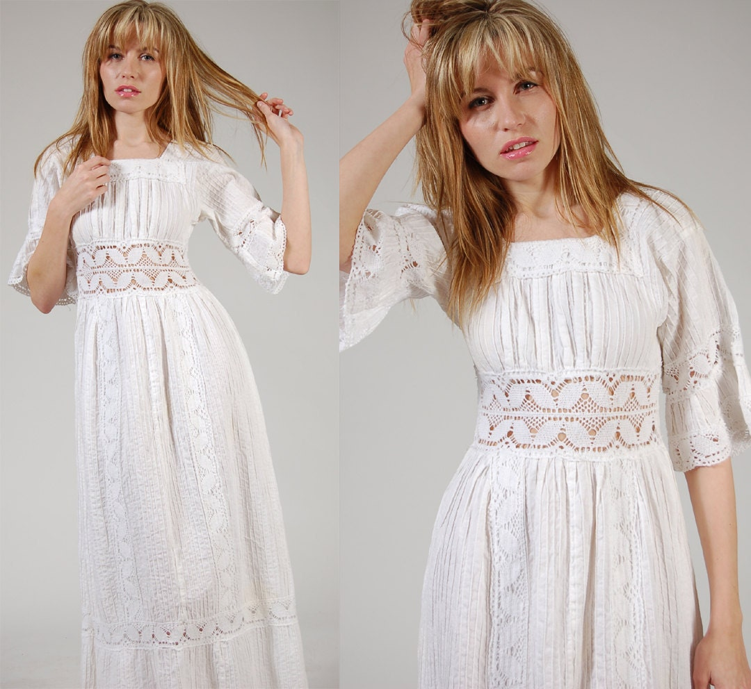 Vintage Mexican Wedding Dresses For  : Vintage s mexican wedding dress white crochet pin tuck boho