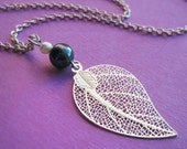Silver Leaf, Hematite and Glass Pearl Necklace
