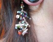 Single Vintage Bohemian Beaded Dangle Earring Funky Stone Bead Gypsy Dangle Small Copper Hook Earwires Standard Ear Piercing 22-20 Gauge