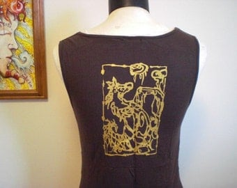 50% Off Brown Gold Bling Print Seahorse Jellyfish Super Soft Stretch Crossover Sleeveless Top Sexy Stretchy Modal OOAK Unique L / XL