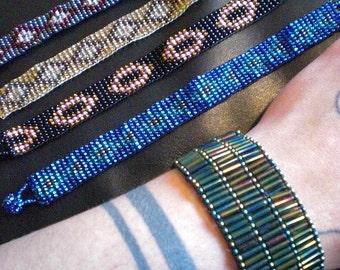 """Hand Woven Guatemalan 1/2"""" or 1"""" Wide Tribal Beaded Bracelet Cuff 6 1/2"""" - 7"""" Womens Wrist Friendship Bracelets Bead Pattern Gift"""