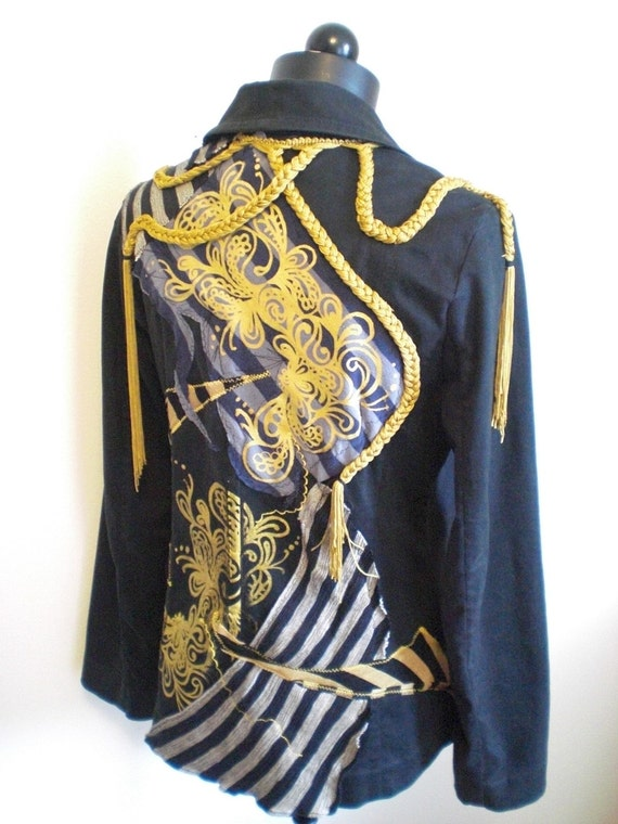 15% Off Steampunk Gold Braid Patchwork Print Peacoat Crazy Conductor Jacket Medium M Unique Handmade Upcycled Recycled Printed OOAK