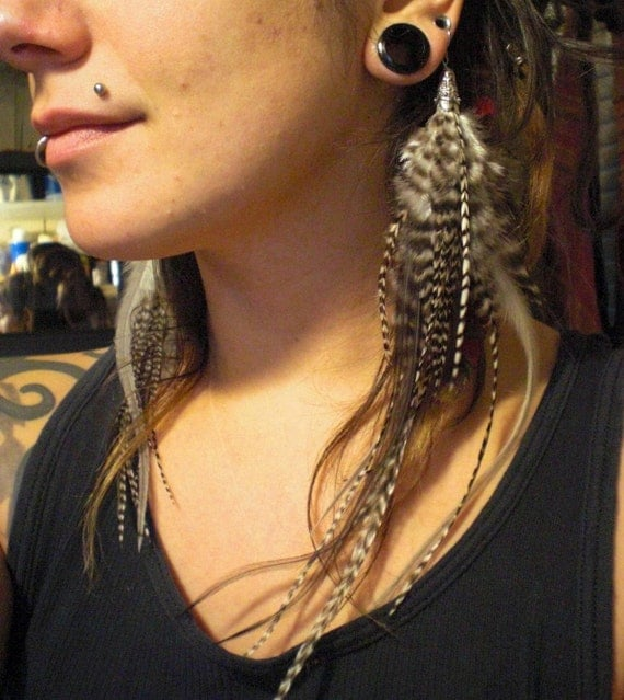 """20% Off Black White and Grey Long Striped Feather Earrings Barred Stripe Rooster Feathers Tibetan Silver Cones Thick Hypoallergenic Hooks 9"""""""