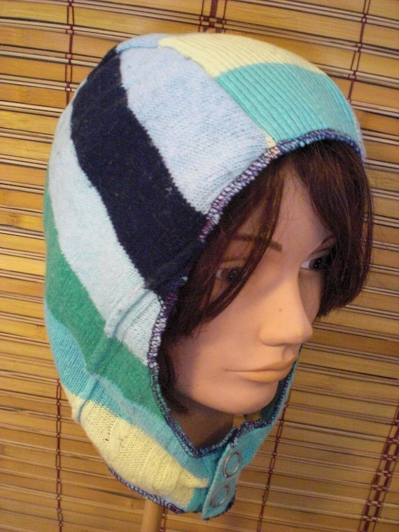 10% Off Stripey Elf Hood with Snap Front Stripe Knit Hat Made from Upcycled Striped Sweater Eco Friendly One Size OOAK