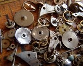 Vintage WATCH PARTS gears - Steampunk parts - e5 Listing is for all the watch parts seen in photos