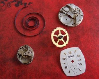 Steampunk Destash - Vintage WATCH PARTS gears - Steampunk parts - H75 Listing is for all the watch parts seen in photos