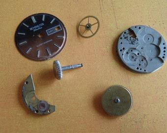 Steampunk Destash - Vintage WATCH PARTS gears - Steampunk parts - G7 Listing is for all the watch parts seen in photos