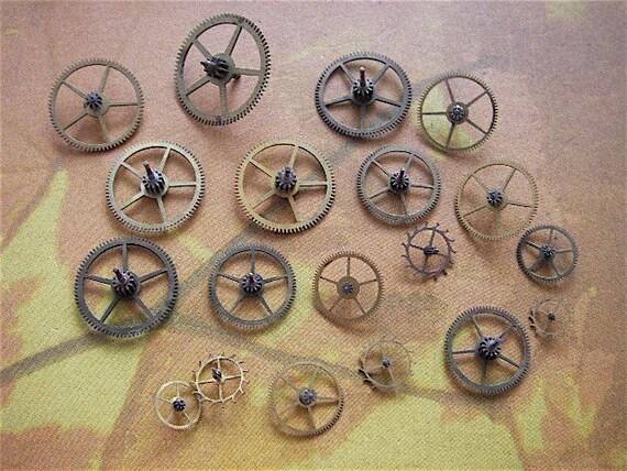 Vintage Antique Watch parts brass gears- Steampunk - Scrapbooking k73