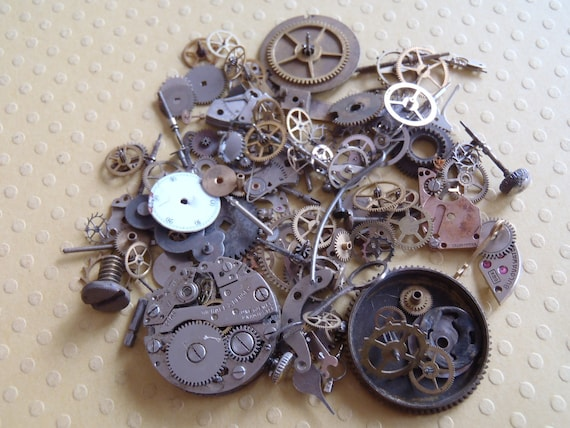 Vintage WATCH PARTS gears - Steampunk parts - Q11 Listing is for all the watch parts seen in photos