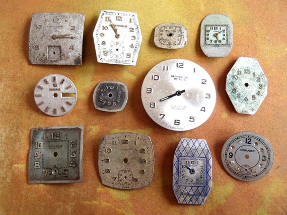 Vintage Antique Watch  Assortment Faces - Steampunk - Scrapbooking X8