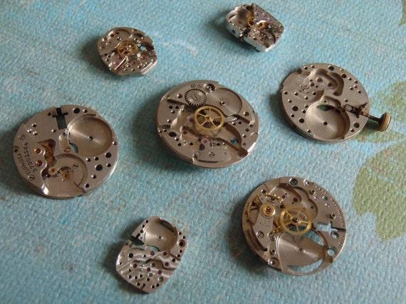 Steampunk Watch parts - Steampunk supplies - Vintage Antique Watch movements parts Steampunk - Scrapbooking M98