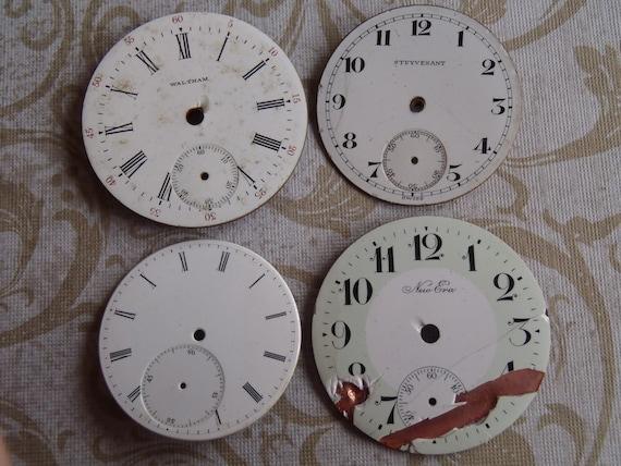 Sale - Vintage Antique porcelain pocket Watch Faces - Steampunk - Scrapbooking W2