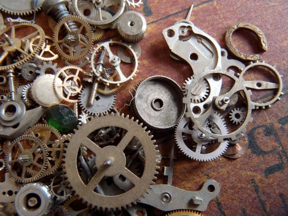 Vintage WATCH PARTS gears - Steampunk parts - P87 Listing is for all the watch parts seen in photos