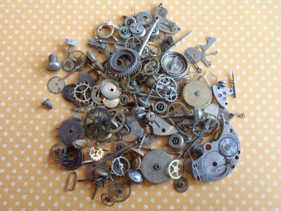 Vintage WATCH PARTS gears - Steampunk parts - e8 Listing is for all the watch parts seen in photos