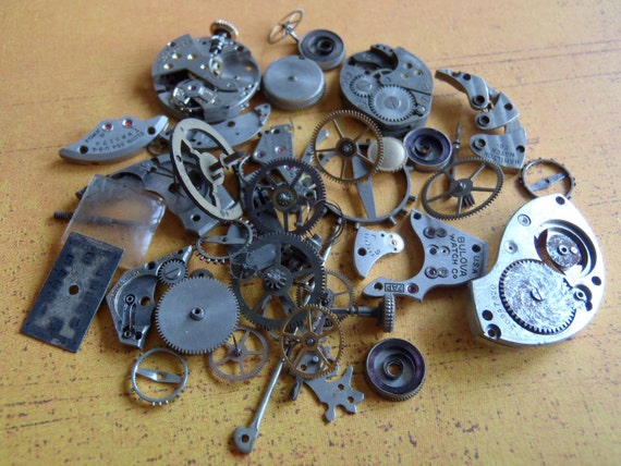 Vintage WATCH PARTS gears - Steampunk parts - T1 Listing is for all the watch parts seen in photos