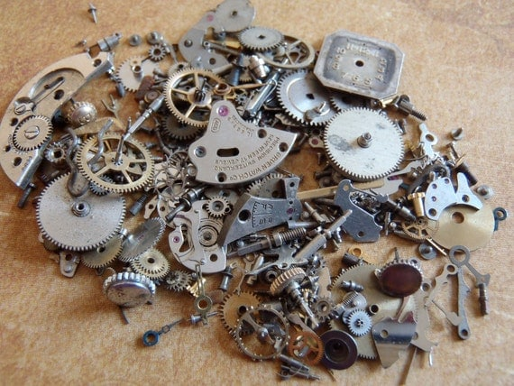 Vintage WATCH PARTS gears - Steampunk parts - l98 Listing is for all the watch parts seen in photos