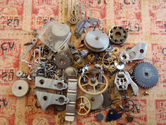 Vintage WATCH PARTS gears - Steampunk parts - e22 Listing is for all the watch parts seen in photos