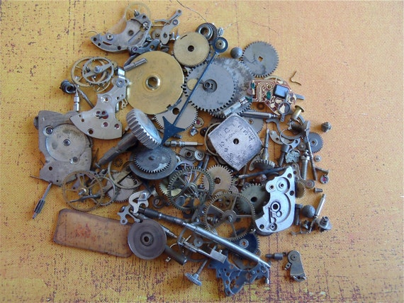 Vintage WATCH PARTS gears - Steampunk parts - D12 Listing is for all the watch parts seen in photos