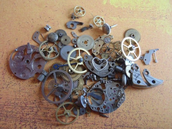 Vintage WATCH PARTS gears - Steampunk parts - u1 Listing is for all the watch parts seen in photos