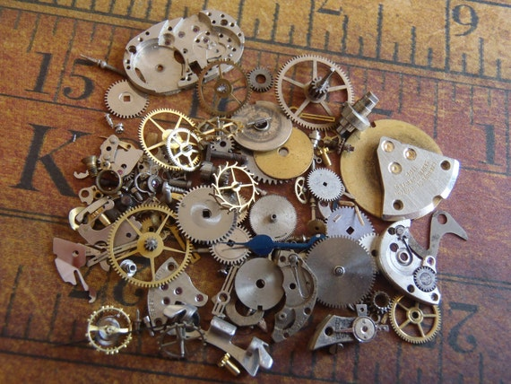 Vintage WATCH PARTS gears - Steampunk parts - u3 Listing is for all the watch parts seen in photos