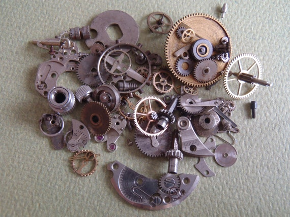 Featured - steampunk watch parts -Vintage WATCH PARTS gears - Steampunk parts - h75 Listing is for all the watch parts seen in photos