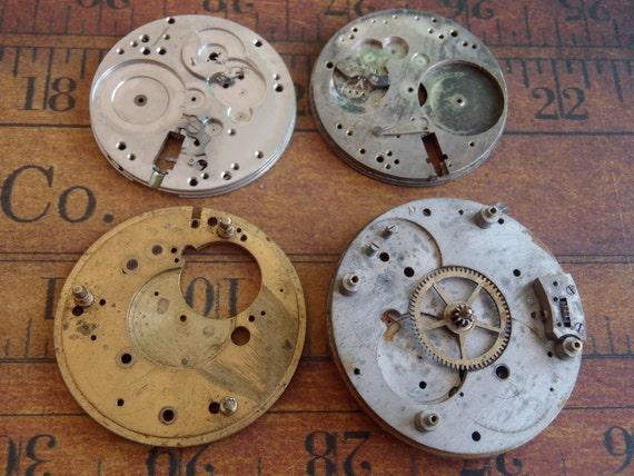 Vintage Antique metal pocket Watch parts - Steampunk - Scrapbooking t5
