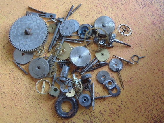 Featured - steampunk watch parts -Vintage WATCH PARTS gears - Steampunk parts - k84 Listing is for all the watch parts seen in photos