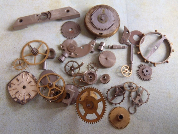 Vintage WATCH PARTS gears - Steampunk parts - h11 Listing is for all the watch parts seen in photos
