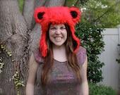 "Red Grateful Dead ""Dancing Bear"" Furry Animal Hat SMALLER SIZE"