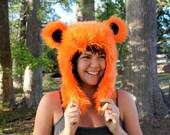 "Orange Furry Bear Hat - Grateful Dead ""Dancing Bear"""