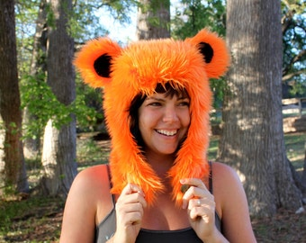 "Orange Furry Bear Hat - Grateful Dead ""Dancing Bear"""