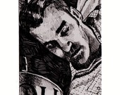 ACEO Original MORRISSEY PORTRAIT Ink Drawing - Giclee fine art print