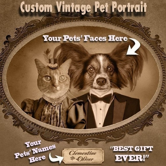 Custom Vintage Image of Your Pet, Custom Pet Portrait, Two Pets, Perfect Gift Dog Lover/Cat Lover, Funny,  Christmas Gift, Cat Dog Portrait,
