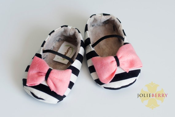 MAYA baby girl shoes - black and cream stripe with coral bow