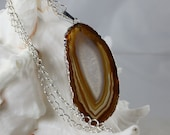 Agate Pendant Necklace Brown Lake