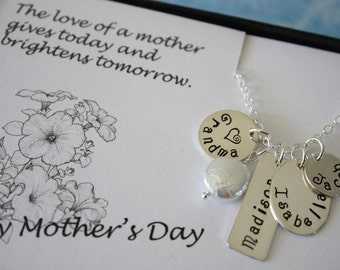 Grandma Necklace Personalized, Mom Necklace, Sterling Silver Charm Necklace, Mother's Day Card, Mothers Day Gift