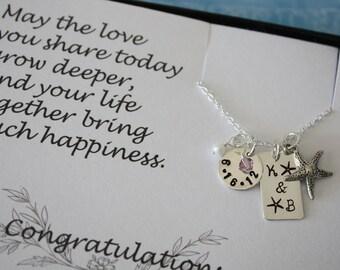 Bride & Groom Wedding Day Keepsake, Sterling Silver Beach Lover Necklace, Card