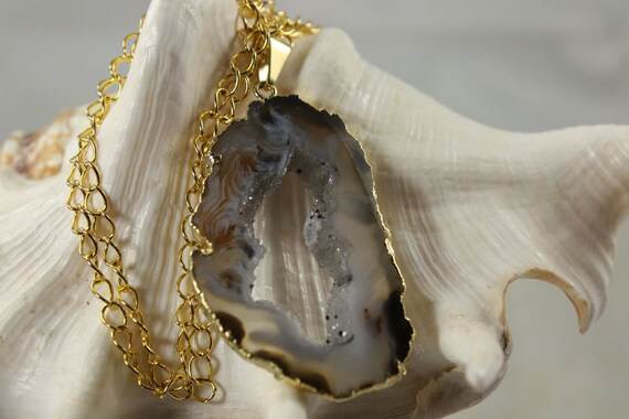 Geode Necklace Agate Slice Druzy