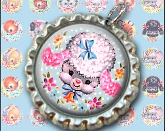 Cute Vintage Animals 2 - Digital Collage Sheet - 1x1 inch Circles - Great for bottlecap Pendants - Buy 2 Get One FREE