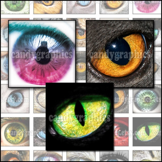 Eyes - 1 x 1 inch squares Great for scrabble tile pendants - Buy 2 Get One FREE