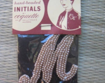 50s Sew On Imitation PEARL Applique INITIAL  M  1950s Dead Stock New Old  Japan