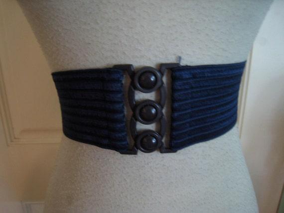 50s wide cinch belt navy blue 1950s sz m or l