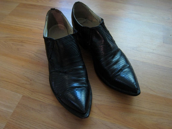 Mens Vintage CUBAN HEEL SNAKESKIN Pointy Shoes / Boots