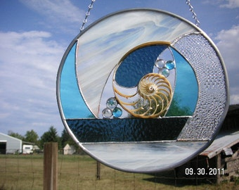 Chambered Nautilus Seashell Center Section in Aqua