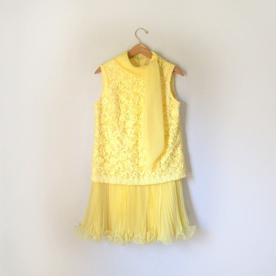 Canary Yellow 60s Dress with Necktie