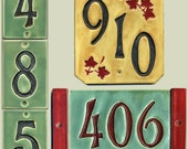 Handcrafted Three Digit Ceramic House Number Tile  Address Plaque Craftsman Style