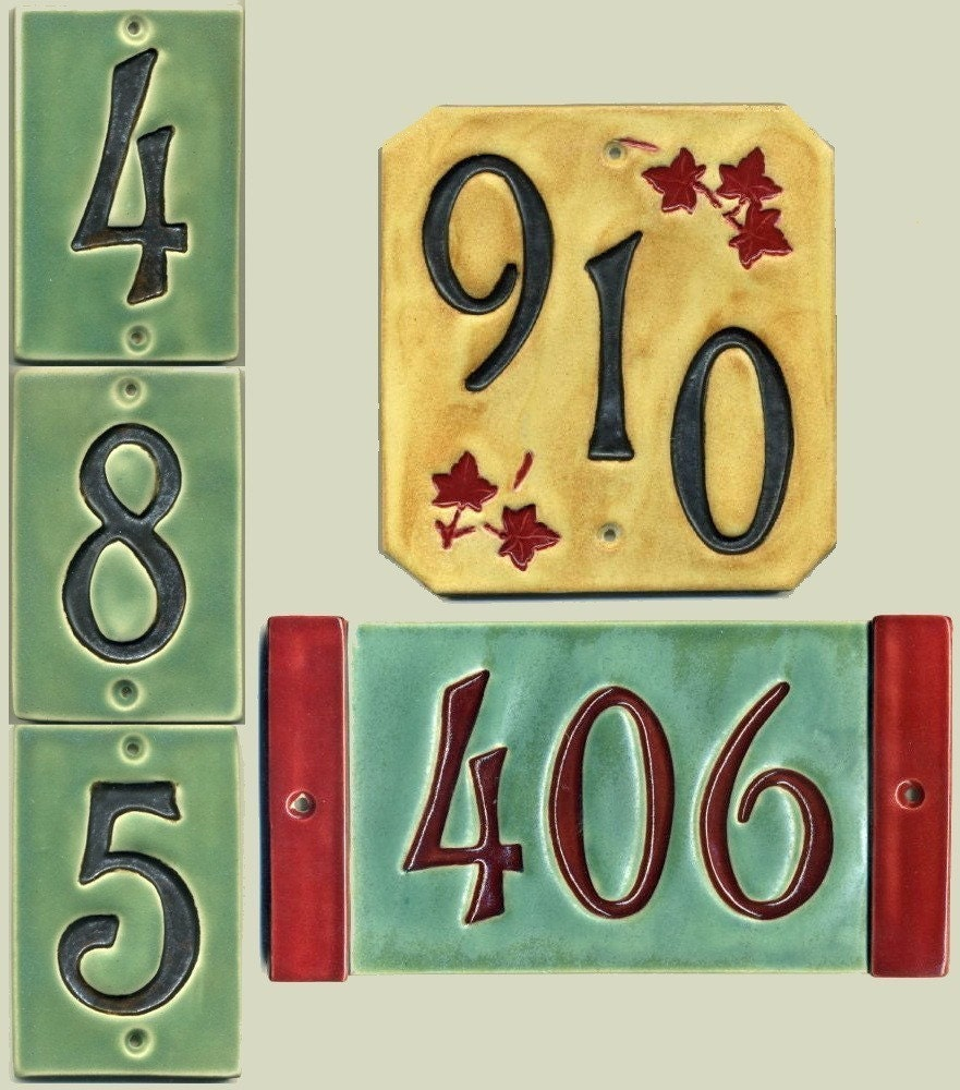Handcrafted Three Digit Ceramic House Number Tile Address