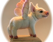 Reserved for Kristin Aquino  Flying Pig   Alpaca OOAK  Needle felted Artist Doll by Stevi T.