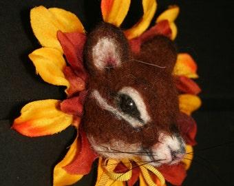 Harvest Chipmunk Wearable Alpaca Needle felted Pin